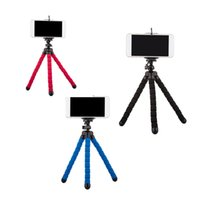 Wholesale Mini Octopus Flexible Camera Tripod - Flexible Tripod Holder For Cell Phone Car Camera Universal Mini Octopus Sponge Stand Bracket Selfie Monopod Mount With Clip