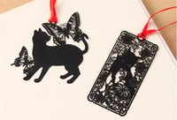 Wholesale Metal Cat Bookmark Wholesale - Free 16 Styles Black cat metal series bookmarks hollow classical metal bookmarks creative Chinese winds ancient wind veins gifts