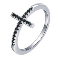 ingrosso coppie d'argento nere anelli-Anello Halo AAA nero con zaffiro nero Anello in argento sterling 925 moda Donna