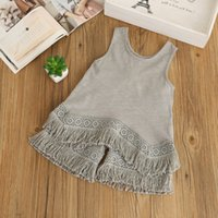 Wholesale cute children s clothing girls for sale - Summer Girls Clothes Tassel Suit Cotton Vest Shorts Kids Children Girl Clothes S L