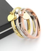 einzelnes goldarmband großhandel-Schmuck Großhandel Brief T Pfirsich einreihig Diamant Armband Herz einzelne Damen Mode-Armbänder
