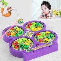 Wholesale Magnetic Rotating Fishing Game - Wholesale-Electric Rotating Magnetic Magnet Fish Rod Go Fishing Game Board Child Toys