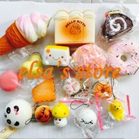 Wholesale Donut Cake - squishies wholesale 10pcs mixed kawaii hello kitty icecream cake donut squishy charm strap for mobile phone straps squishy soft hand pillow