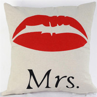 Wholesale gift pillow love for sale - Love Cushion Mr Mrs Always Right Pillow Case Wedding Gift Cotton And Linen Letters Pillows Cover Home Decor ht R