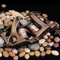 máquinas de tatuaje de cobre puro al por mayor-Envío Gratis 2 unids Pistolas de Cobre Puro Tatuaje 10 Wraps Liner Y Shader Calidad Superior Máquina de Tatuaje Conjunto Envío Gratis