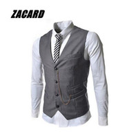 Wholesale Pointed Blazer - Wholesale- Men's Sleeveless Chain Point Casual Slim Fit Blazer Suit Vest Waistcoat Casual Business V-Neck Dress Blazer Suit Male 4 Buttons