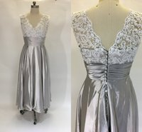 Wholesale real wedding tea length dresses for sale - Group buy 2017 Real Image Mother of the Bride Dresses V Neck Sleeveless White Lace Appliques Silver Tea Length Plus Size Party Wedding Guest Gowns