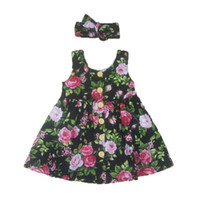 Wholesale Birthday Outfit 2t - Floral Girls Dress Summer Sleeveless Baby Girls Clothing Dress Headband 2pcs Clothing Floral Toddler Outfit 3T Birthday Dresses