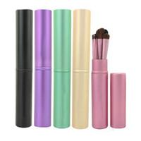 Wholesale Mini Eyeshadow Brushes - Portable Mini 5pcs Eye Makeup Brushes Set Eyeshadow Eyeliner Tool Kit With Round Tube For Women Travel Make Up Brush