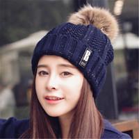 Wholesale Women Winter Hat Headgear - Winter Fashion Beanie Classic Tight Knitted Fur Pom Poms Hat Women Cap Winter Beanie Headgear Headdress Head Warmer Top Quality