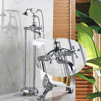 Wholesale Chrome Stands - Wholesale And Retail Chrome Floor Standing Telephone Style Bathtub Faucet Tub Filler Floor Mounted