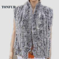 Wholesale knitted rabbit fur shawls - Wholesale-Real Knit Rex Rabbit Fur Scarf Women Winter Warm Natural pure fur shawl Free shipping FP574