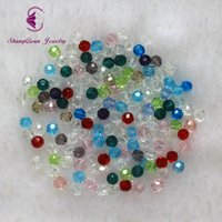 Wholesale 4mm bicone crystal beads - Free shipping multi color 4mm 2500PCS Bicone crystal beads Cut Faceted Round Glass Beads bracelet necklace Jewelry Making DIY