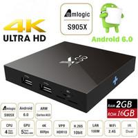Wholesale Media Usb Hdmi - 2GB 16GB X96 Android 6.0 TV Box Amlogic S905X Quad Core Marshmallow Smart Mini PC 1G 8G H.265 WIFI 4K*2K UHD HDMI USB Bluetooth Media Player