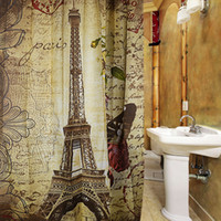 Wholesale Curtain Buckles - Wholesale- Paris Eiffel Tower Waterproof Polyester Bath Shower Curtain Retro Vintage Brown Butterfly Design Pattern with 12 Plastic Buckles