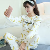 Wholesale Sexy Winter Nightgowns - Wholesale- Discount New 2016 Autumn Winter Women Pajama Sets Print 90S Girls Sleepwear Pajamas Ladies Homewear For Women Nightgown Female