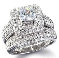 tamanho dos anéis de casamento do noivado venda por atacado-Tamanho 6/7/8/9 jóias princesa corte 14kt ouro branco cheio topázio completo gem simulado diamante mulheres anel de noivado de casamento set presente