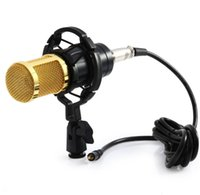 Wholesale Microphone Mounts - BM-800 High Quality Professional Condenser Sound Recording Wired Microphone with Shock Mount for Radio Braodcasting Singing Black