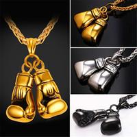 ingrosso guanti da boxe collane-U7 Cool Sport New Men Collana Fitness Moda acciaio inossidabile allenamento gioielli placcato oro paio guantoni da boxe pendenti di fascino accessori regalo