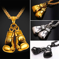 Wholesale Gold Chain Box Link - U7 Cool Sport New Men Necklace Fitness Fashion Stainless Steel Workout Jewelry Gold Plated Pair Boxing Glove Charm Pendants Accessories Gift