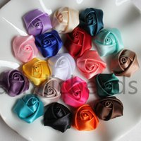 Wholesale Rolled Rosette Flowers - 23mm Satin Rolled Artificial Silk Rose Flower Fabric Rosettes Headdress Floral Decoration Flowers Headmade Scrapbooking Accessories