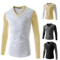 Wholesale Tshirts Brands Xxl - brand new male sport tshirts V-neck long sleeve cotton blend mens casual tops and tees T-shirts M-XXL 4colors