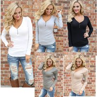 Wholesale Thin Fashion Shirts Wholesale Women - European fashion sexy round neck sets of leisure wild was thin round neck long sleeve T shirt support mixed batch