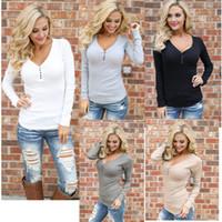 Wholesale European Women T Shirts - European fashion sexy round neck sets of leisure wild was thin round neck long sleeve T shirt support mixed batch