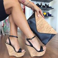 plataforma de hebilla al por mayor-Mujeres Open-toe Plataforma Sandalias de tacón Zapatos impermeables respirables y casuales Hebilla de tobillo Tamaño EU34 ~ 45