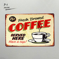 DL-The Fresh Brewed Coffee here Here Targa da parete Retro Metal Art Poster