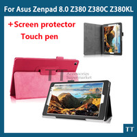 Wholesale free tablet cases - Wholesale- PU leather case cover For Asus Zenpad 8.0 P024 Z380 Z380C Z380KL 8 inch tablet case+free screen protectors+touch pen