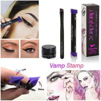 Wholesale Stamping Kits - High quality 3Pcs Set Eye Liner Waterproof Long Lasting Eyeliner Liquid Kit Eyeliner Link Angle Brush Vamp Stamp Set Beauty Makeup Cosmetics