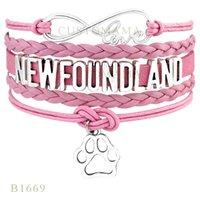 Wholesale paw charm blue - Custom-Infinity Love Basset Hound New foundland Dog Paw Charm Bracelets Christmas Gifts Women Bracelets Pink Black Blue Leather Bracelets
