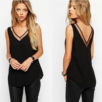 Wholesale White Chiffon Tank - Tank Top New Arrival Summer Style Women Tank Top Black  White Sexy Chiffon Tops Casual Woman Sleeveless Blouse