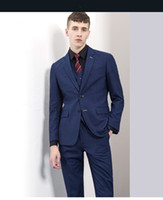 Wholesale Cheap Formal Jackets Men - custom made wedding groom toxedox ( jacket+vest+pants) cheap formal men suits wear free shipping Men suit new arrival 2016_2017