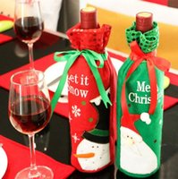 Wholesale Solid Acrylic Ornaments - Christmas Wine Bottle Bag Dinner Party Decoration Bow-Knot Snowman Christmas Tree Santa Claus Bottle Cover Bag Christmas supplies DHL FREE