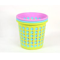 Wholesale Storage Paper Baskets - Plastic Storage Basket Hollow Round Point Dirty Clothes Basket Candy Color Portable Trash Bucket Rubbish Basket