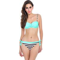 Wholesale Neon Bathing Suits - 2017 New Sexy Bikinis Push Up Swimwear Women Brazilian Retro Hot Bandeau Top Neon String Swimsuit Bathing Suits Bikini Set