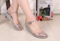 Wholesale Crystal Sewing Buttons - Summer Women's Sandals Clear Crystal Classic Buckle Strap Sandals waterproof Mesh Flats Shoes