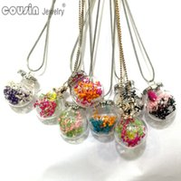 Wholesale Christmas Bottle Designs - DZ0194 New Arrivals 30pcs lot 30styles Glass Bottle dried flower Pendant Snake Chain necklace for Woman Dress Fashion Design jewelry