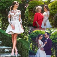 Wholesale Pure Gold Clubs - Illusion Pure White Appliques Homecoming Dresses Jewel Neck Sexy Back A Line Long Sleeve Prom Gowns Short Length Fashion Cocktail Dress