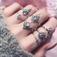 Wholesale Vintage Elephant Ring - Vintage Retro 7pcs  Set Silver Boho Arrow Crystal Moon Elephant Joint Midi Finger Knuckle Rings Fashion Jewery