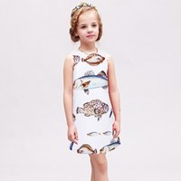 Wholesale Clothes For Fishing - Girl Dress W.L.Monsoon Summer Dress Fish Printing Casual Party Dress For Girl Brief Children Clothing