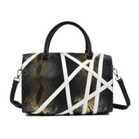 Wholesale Quality Barrels - Sally Young Boston Barrel Bag Woman Handbags Designer PU Leather Serpentine Totes Geometric Two-tone Shoulder Bags High Quality SY2108