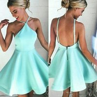 Wholesale Mint Green Short Cocktail Dresses - Mint Sexy Short Halter Neck A Line Satin Homecoming Dresses 2018 Backless Mini Prom Party Dress Lovely Cocktail Gowns BA6897