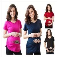 Wholesale Maternity Clothes T Shirts - Pregnancy T Shirts Funny Maternity Shirt Pregnant Women Tops Plus Size Print Tees Casual Summer Tanks Soft Short Sleeve Blouse Clothes B2408