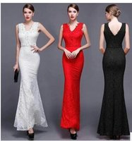 Элегантный Bridesmaids Red Mermaid Dresses SpaghettiV-neck AppliquedLace Backless Evening Wear Sexy Sleeveless Formal Prom Коктейльное платье для вечеринок