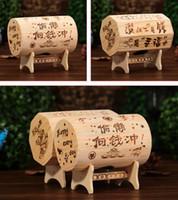 Wholesale Wooden Piggy Banks - Wood Piggy Bank Student Coin Storage Boxes Unique Cask Money Boxes Piggy Bank Creative Wooden Gift Home Decoration