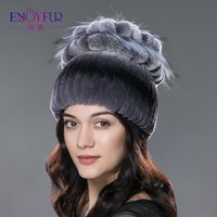 Wholesale Knit Flower Hat For Sale - Sale 2017 winter beanies fur hat for women knitted rex rabbit fur hat with fox fur flower top free size casual women's hat