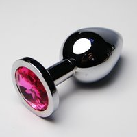 Wholesale Large Metal Butt Plugs - 40*90mm large metal anal plug Plated Jeweled Rhinestone butt plug insert adult products sex toys for men and women